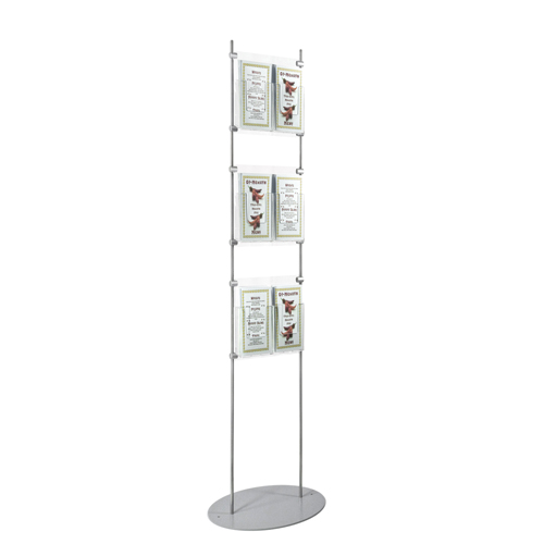 1.5m brochure stand - 6x third A4 portrait (DL) leaflet dispensers