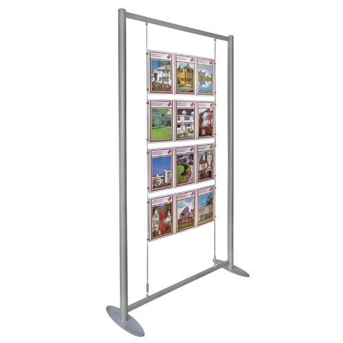PF1: Free-standing poster display - frame with suspended poster holders