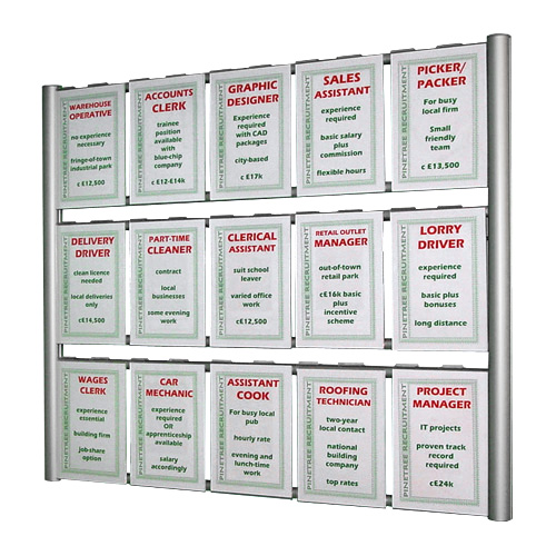 PW3: Wall ladder poster displays with hook over holders