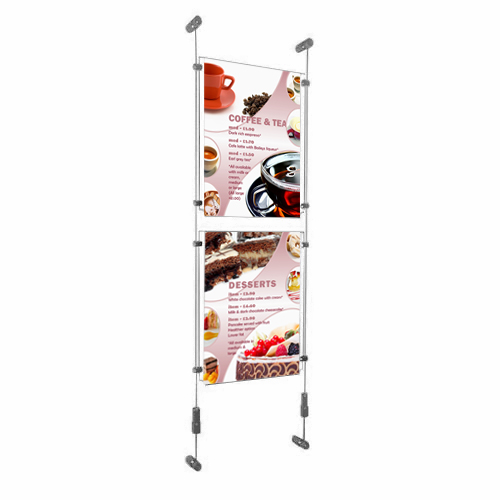 PW6: Wire-fix wall poster displays - columns of acrylic holders on wall-suspended wires