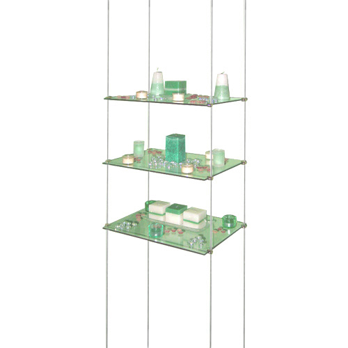 Suspended Shelves From Ceiling: Suspended Glass Shelves
