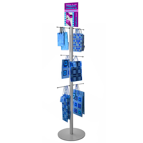 Carrier bag stand with poster holder