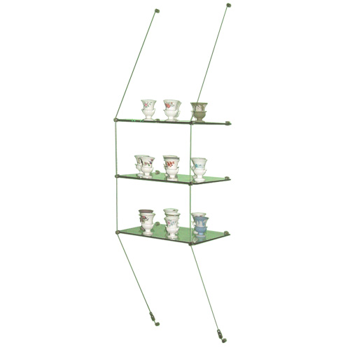 ... Wall-suspended glass shelves - 3x 444x200mm